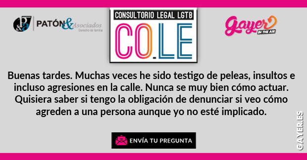 CONSULTORIO LEGAL LGTB | Deber de denunciar como testigo de un delito