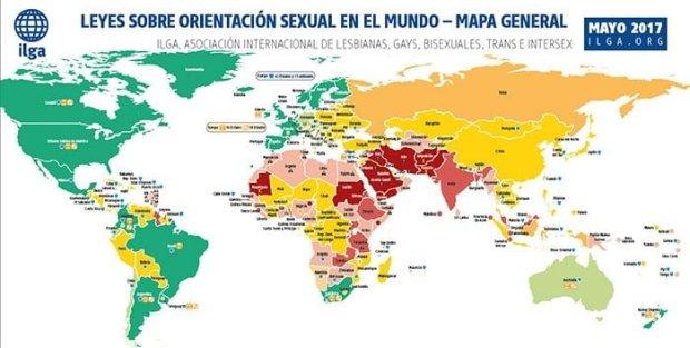 Leyes sobre orientación sexual en el mundo - Mapa general | Fuente Img. ilga