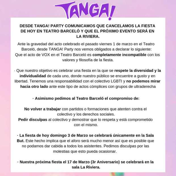 tanga party comunicado