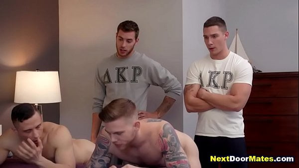 College gay jocks fucked in foursome to join the brotherhood