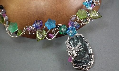 Specular Hematite Faery Flower Necklace