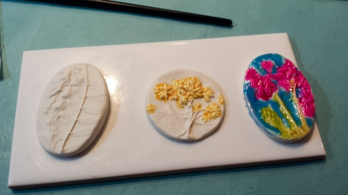 My first attempts at faux ceramic with tinted liquid polymer clay