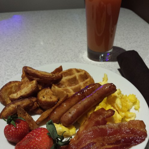 Every morning was this gorgeous buffet. Look at those tiny waffles!
