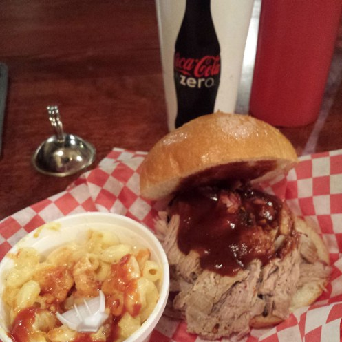 BBQ pulled pork with mac & cheese!