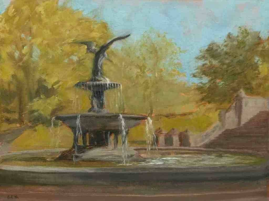 """""""Bethesda Fountain"""" Oil on linen panel, 9"""" x 12"""", painted in 2018 - AVAILABLE"""