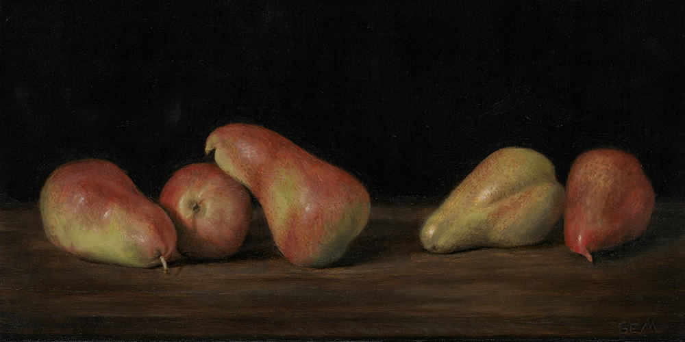 """""""Five Pears"""" Oil on linen panel, 7"""" x 14"""", painted in 2016 - AVAILABLE - The Foundation Gallery in New Orleans """"Immortelle"""" exhibition (2016)"""