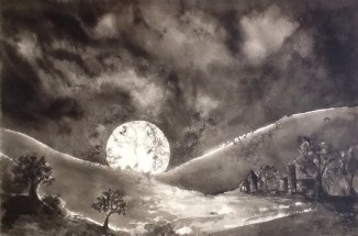 """""""Moonrise Over an Open Field"""" - Ink on paper"""