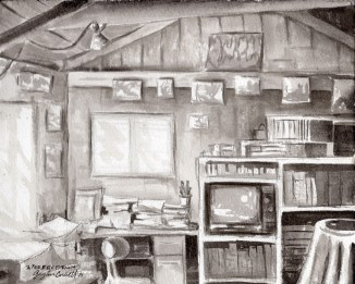 """""""A Perfect Room""""- 8x10 - India ink on watercolor paper"""