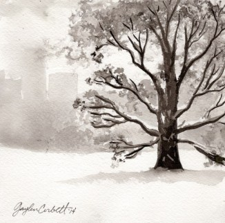 """""""Early Spring"""" - 6x6 - India ink on watercolor paper"""