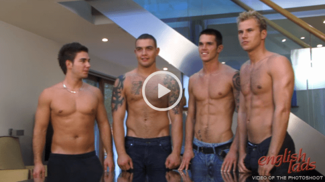 Hung straight guy Andy Lee gets his big cock out with 3 other guys for a group jerk off