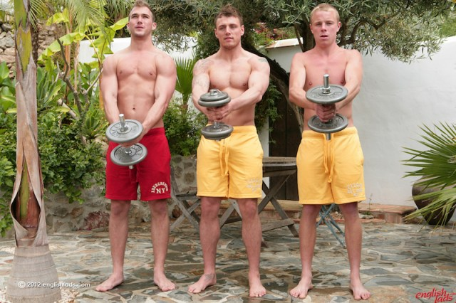 three straight guys wanking and sucking cock in the sun at English Lads