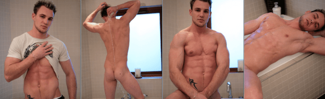 Straight jock Bailey Morgan wanking in the bath