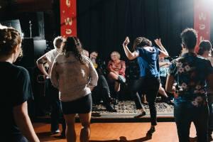 Line dancin' at Dirty Water Saloon