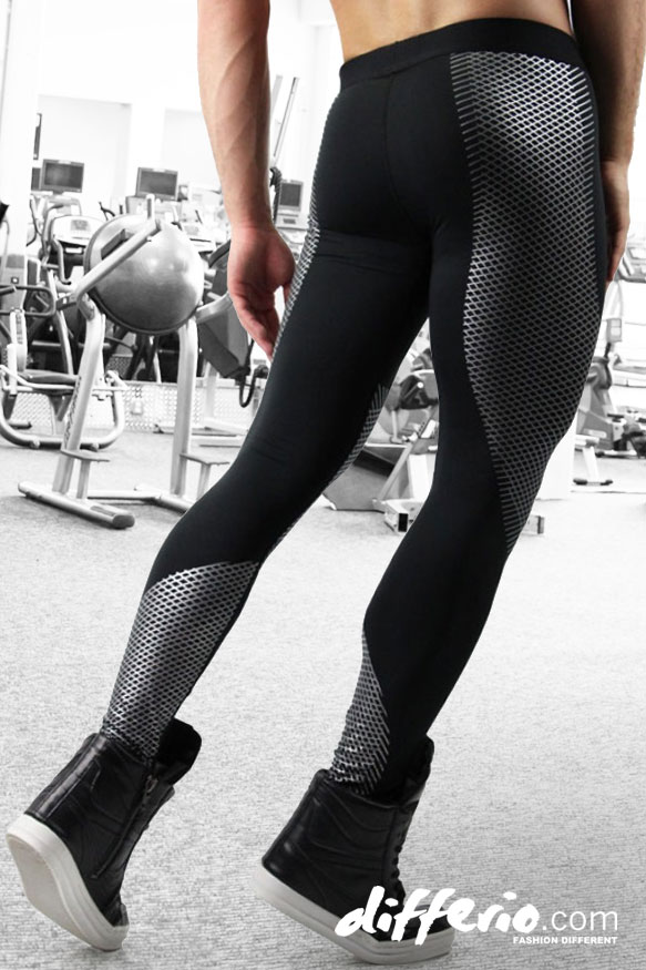 660200742 Printed Workout Leggings In Black And Silver