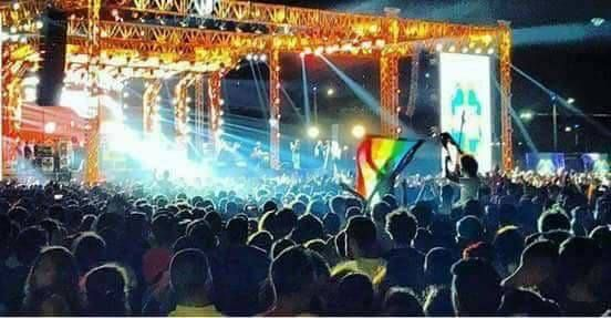 A Pride flag at Mashrou Leila's concert