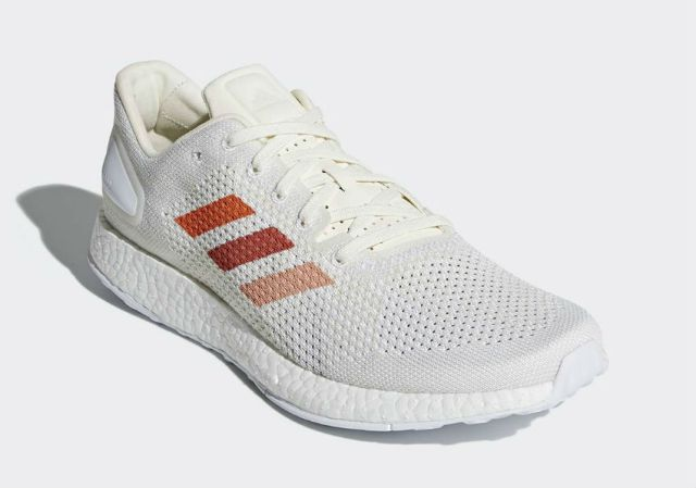 The adidas Pure Boost DPR with terra-cotta colored stripes
