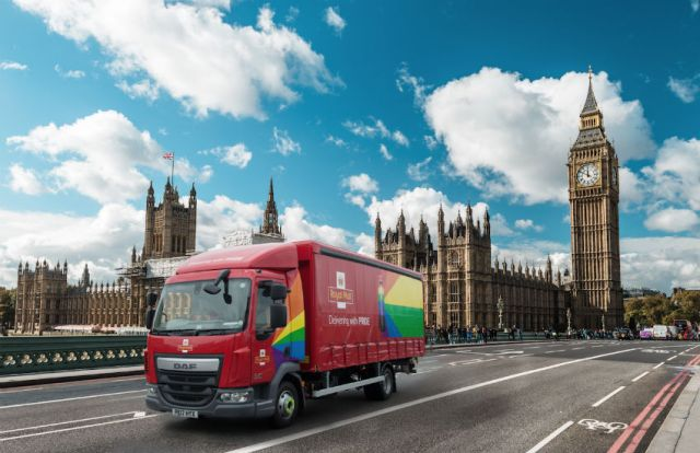 Royal Mail Pride truck in front of Westminster