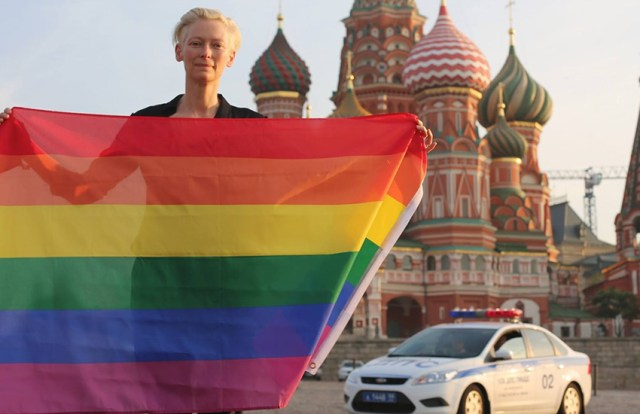 Tilda Swinton stands in solidarity with the LGBTI community in Russia