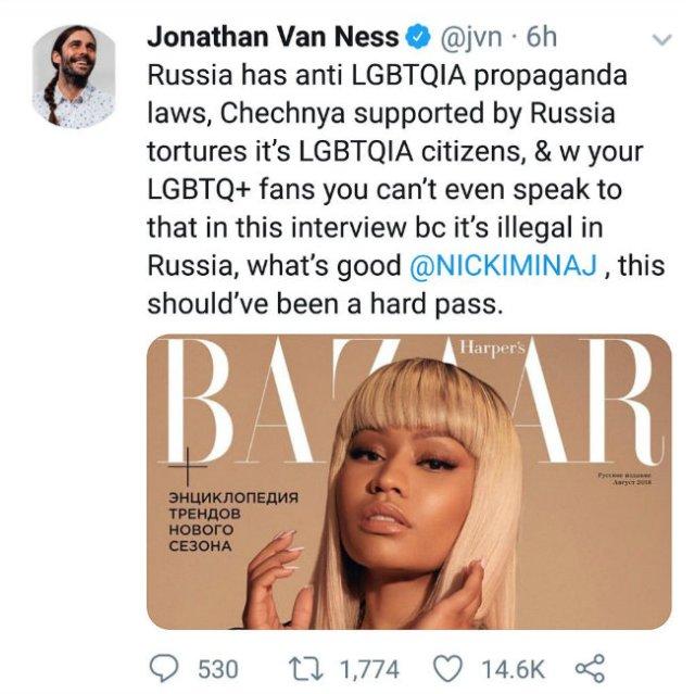 Jonathan Van Ness' tweet about Nicki Minaj
