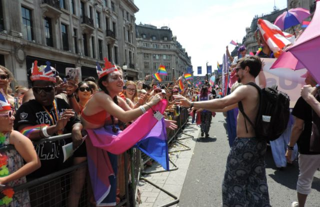 People who attended Pride in London were delighted to see the bi float