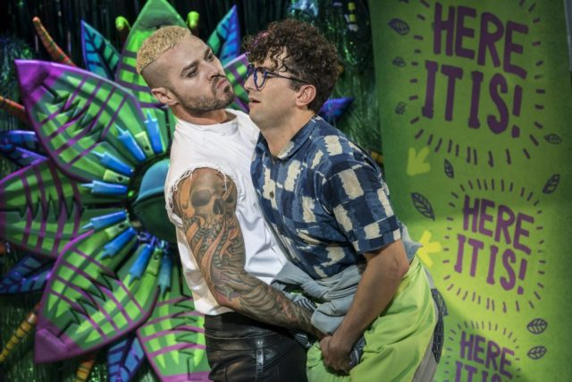 Matt Willis and Marc Antolin as Orin and Seymour. Photo Johan Persson. Design Tom Scutt. Lighting Design Howard Hudson | Photo: Open Air Theatre Little Shop of Horrors