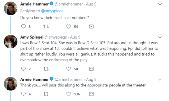Hammer tweets with another audience member