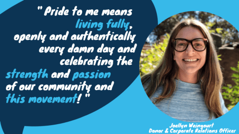 Pride to me means living fully, openly and authentically every damn day and celebrating the strength and passion of our community and this movement.