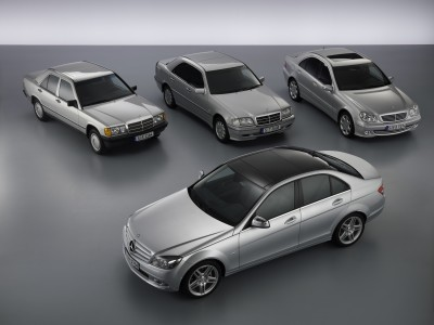 Four generations of the Mercedes-Benz C-Class