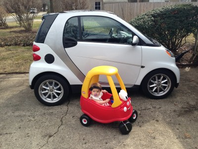 The 2016 smart fortwo (pic by Casey Williams, with Casey's daughter in the Little Tikes car)