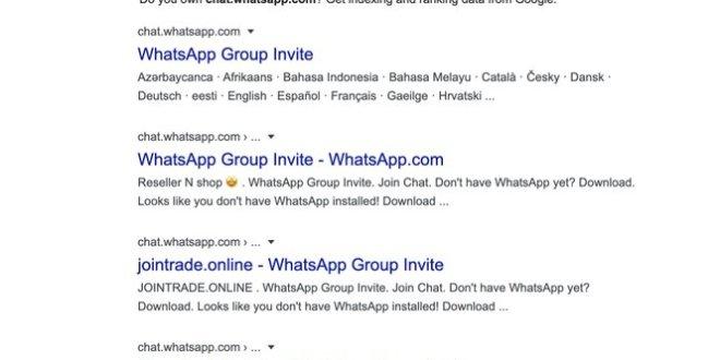 ظهور محادثات واتساب الجماعية العامة ضمن نتائج بحث جوجل