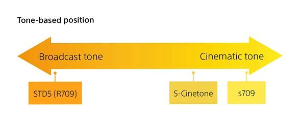 رسم بياني متدرج من Sony يوضح مكان وقوع S-Cinetone بين STD5 (R709) و s709 من حيث النغمات.