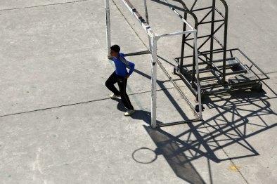 High angle on goalie