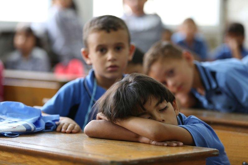 School boy asleep