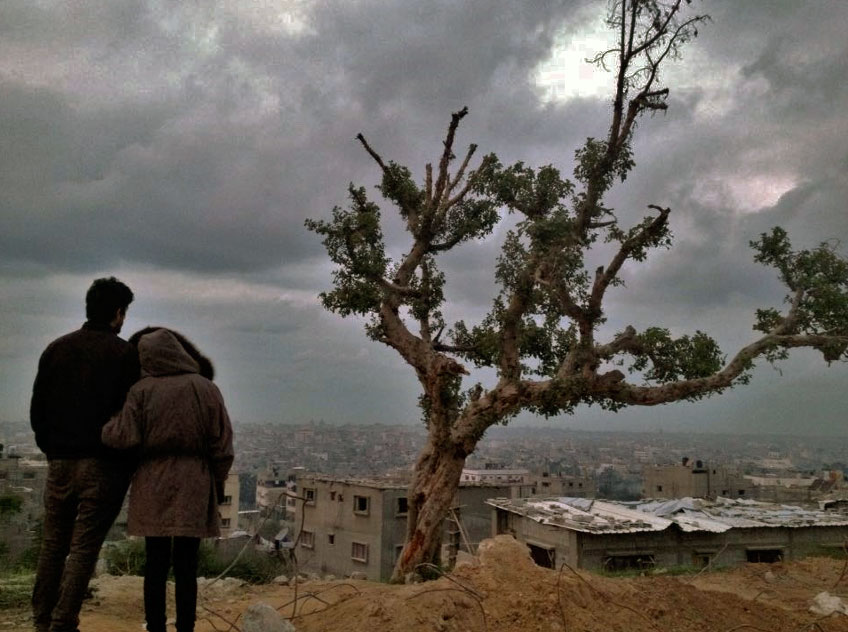 Lara and Jehad, and a tree, in Gaza