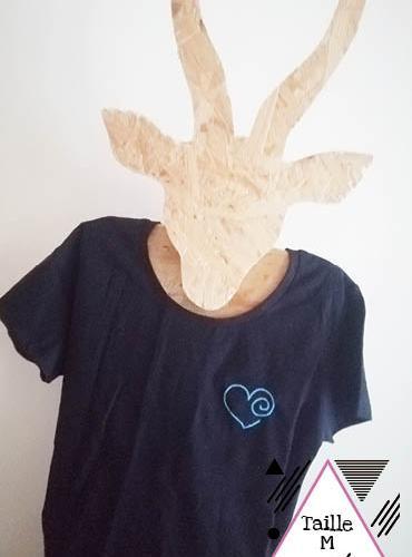 T-shirt coeur bleu