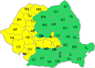 Cod galben de vreme rea în Prahova