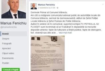 """Marius Fenichiu către primarul din Măneciu, Vasile Cordoş: """"Vă solicit să cereți în mod public scuze suporterilor petrolişti!"""""""