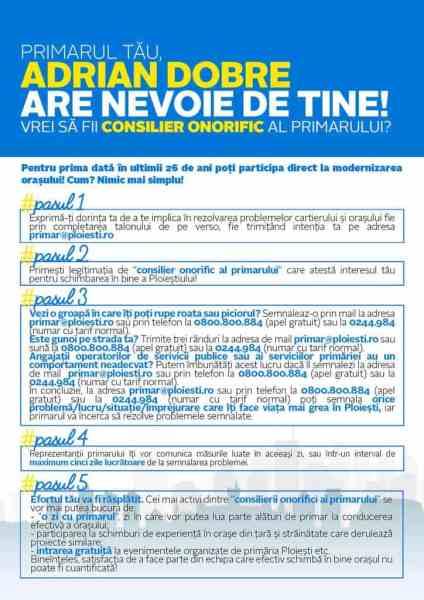 """Anunţul PNL cu privire la proiectul """"Consilier onorific al primarului Adrian Dobre"""""""
