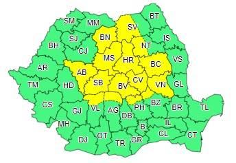Cod galben de ploi puternice şi grindină valabil pentru nordul judeţului Prahova