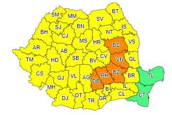Prahova sub cod portocaliu de ploi torențiale, căderi de grindină și descărcări electrice