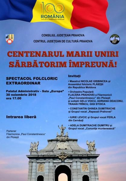 Concert de Centenar, vineri, 30 noiembrie, La Palatul Administrativ