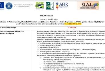 Lansarea Apelului de selecție de proiecte nr. 7/2018  pentru măsura M3\2A Sprijin pentru dezvoltarea fermelor mici  și instalarea tinerilor fermieri, 31.12.2018-04.02.2019