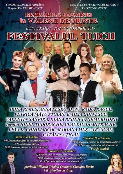 Serbările Toamnei- Festivalul Ţuicii Vălenii de Munte, 25-27 octombrie 2019, programul evenimentului