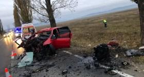 Maşină făcută praf într-un pom pe DN1. Accident cu mort