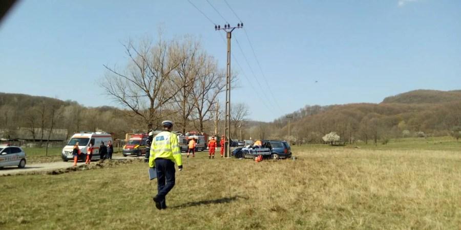 Accident la Telega cu rănit transportat cu elicopterul SMURD (alcool+fără permis)