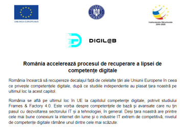 România accelerează procesul de recuperare a lipsei de competențe digitale