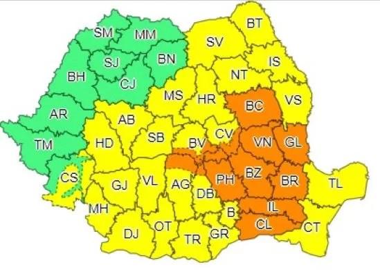 Cod portocaliu de ploi în județul Prahova, în week-end