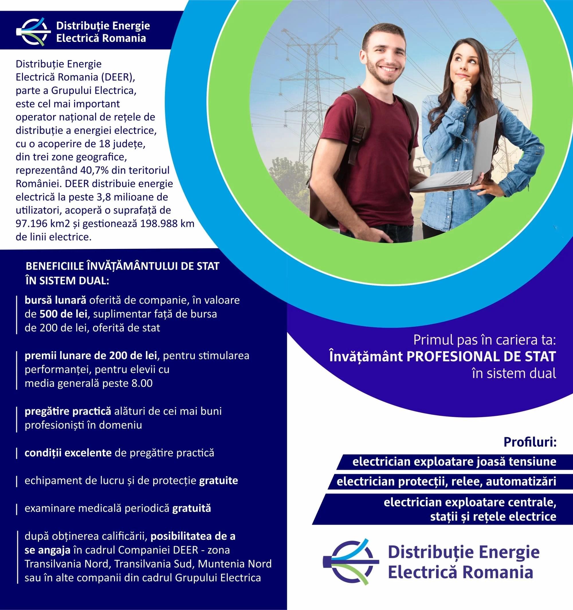 """Electrica (DEER) organizează o clasă de electricieni la Liceul Energetic """"Elie Radu"""" Ploiești – bursă și angajare la absolvire"""