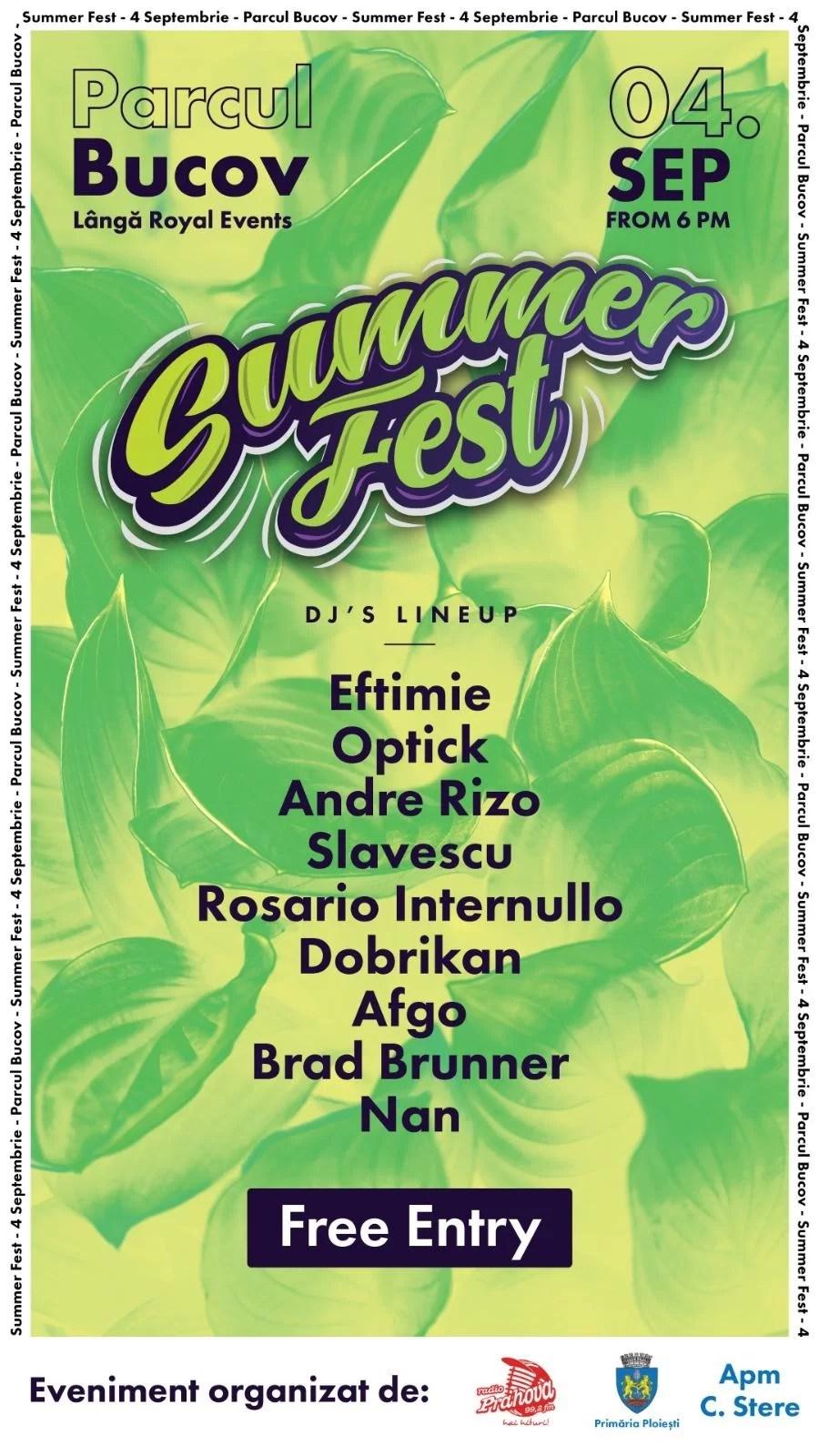 Primăria Ploiești organizează în primele zile ale toamnei… Summer Fest (Festivalul Verii)
