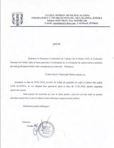 ANUNT Clubul Sportiv Municipal Slatina